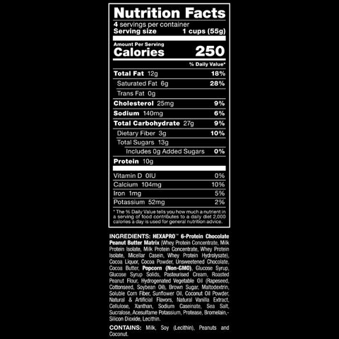 Allmax Nutrition HexaPro Protein Popcorn Chocolate Peanut Butter Nutrition Facts