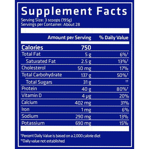 USN Anabolic Grow 6lb Supplement Facts