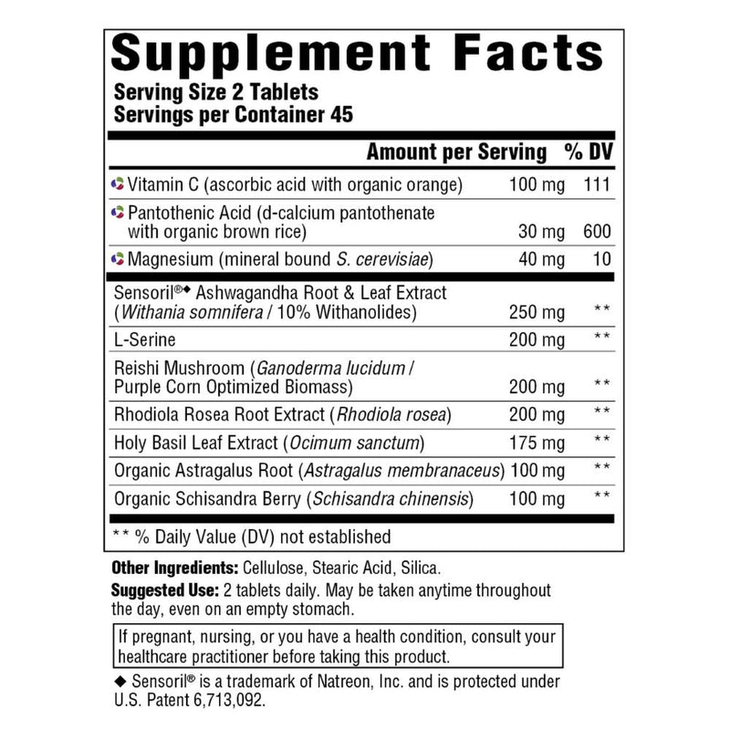 MegaFood Adrenal Strength Supplement Facts