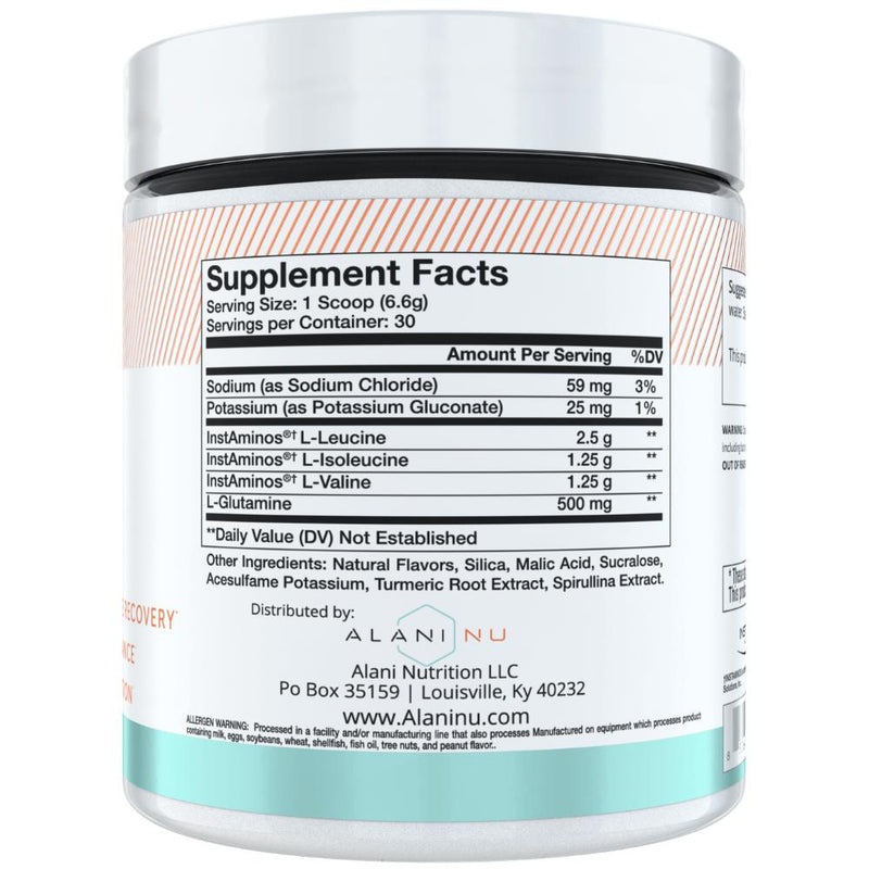 Alani Nutriton BCAA 30 Servings Supplement Facts