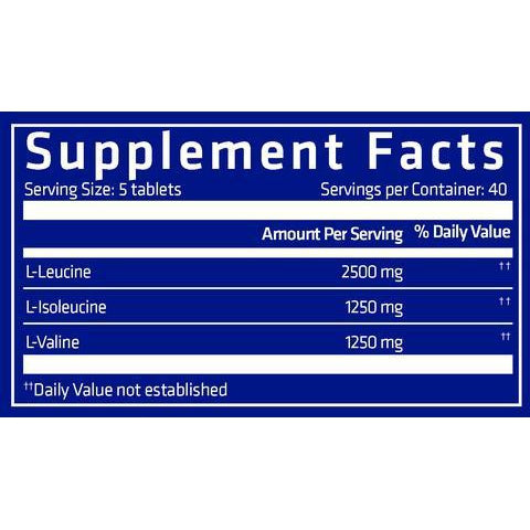 USN Pure BCAA 200 Tablets Nutrition Facts