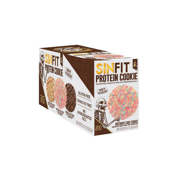 Sinister Labs SinFit Protein Cookies Box of 12 Birthday Cake