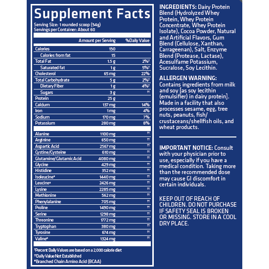 USN Blue Lab Whey 2lb Supplement Facts