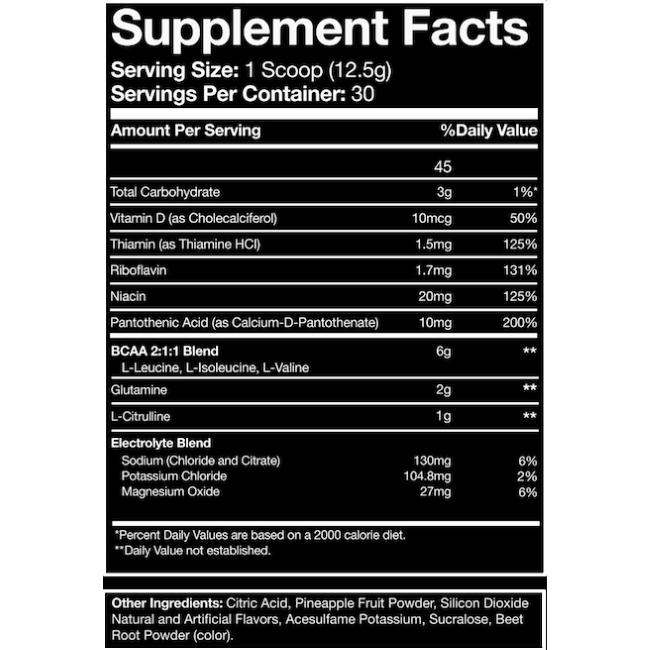 Blue Ribbon Nutrition Amino+ BCAA 30 Servings Supplement Facts