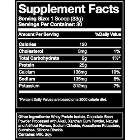 Blue Ribbon Nutrition ISO PRO 100% Whey Protein Isolate Chocolate Supplement Facts