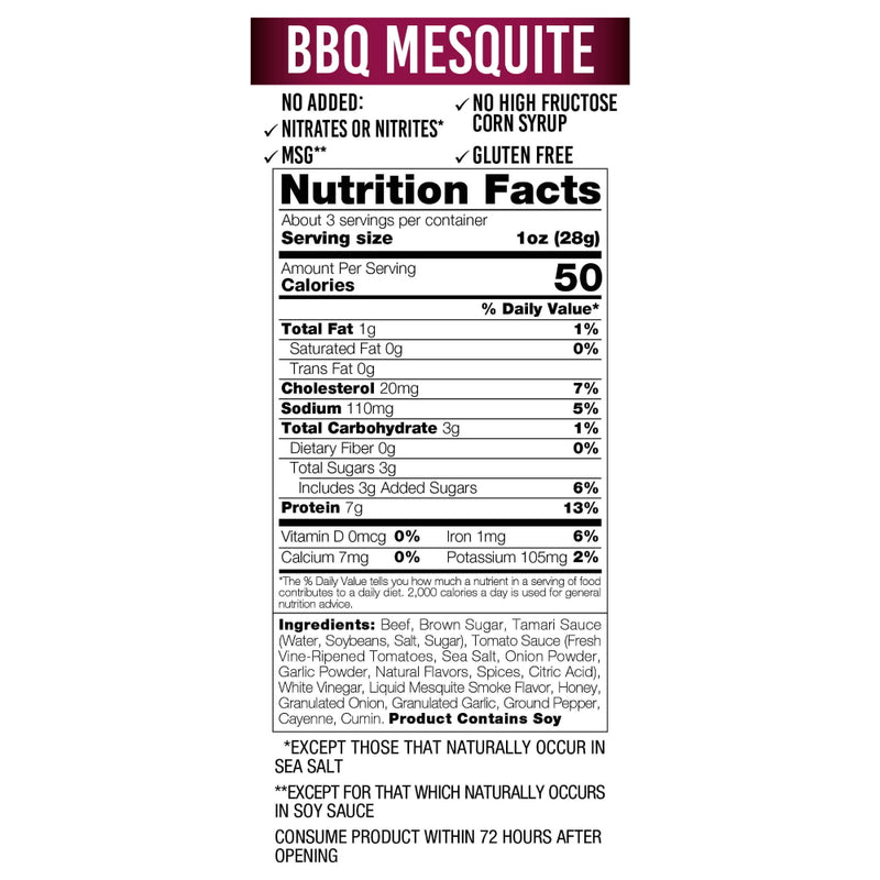 Wicked Cutz Beef Jerky 2.75oz BBQ Mesquite Nutrition Facts