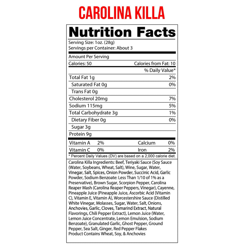 Wicked Cutz Beef Jerky 2.75oz Carolina Killa Nutrition Facts