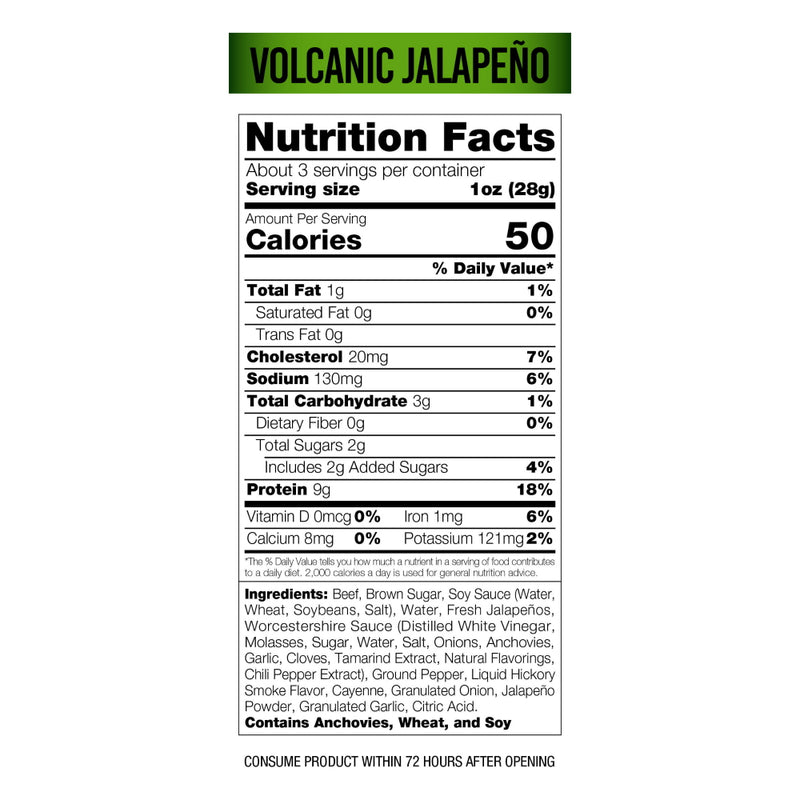 Wicked Cutz Beef Jerky 2.75oz Volcanic Jalapeno Nutrition Facts