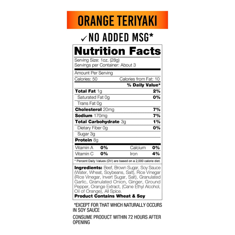 Wicked Cutz Beef Jerky 2.75oz Orange Teriyaki Nutrition Facts