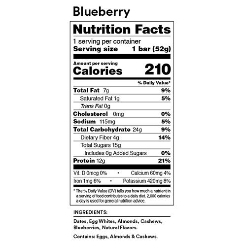 RX Bar Nutrition Facts Blueberry