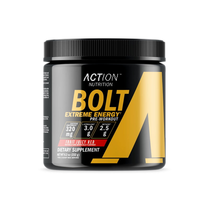 Action Nutrition Bolt Extreme Energy 30 servings Fruit Juicy Red