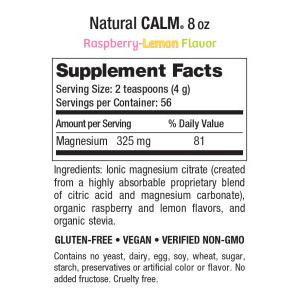 Natural Vitality Calm 8oz Raspberry Lemon Supplement Facts