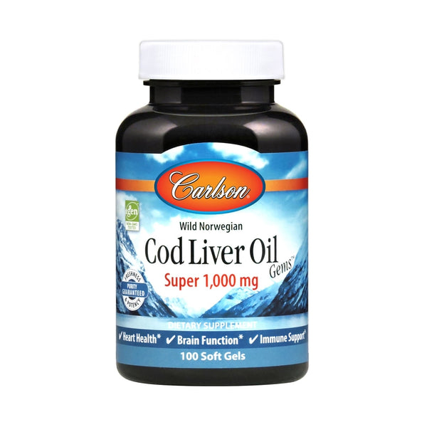 Carlson Labs Cod Liver Oil Super 1000 100 Soft Gels