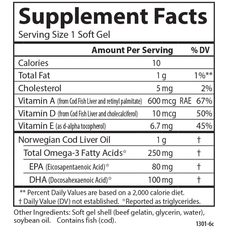 Carlson Labs Cod Liver Oil Super 1000 100 Supplement Facts