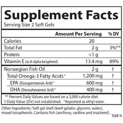 Carlson Labs Super Omega 3 1200mg Supplement Facts