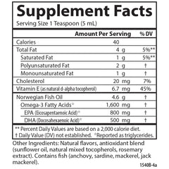 Carlson Labs The Very Finest Fish Oil Liquid Lemon Supplement Facts
