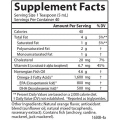 Carlson Labs The Very Finest Fish Oil Liquid Orange Supplement Facts
