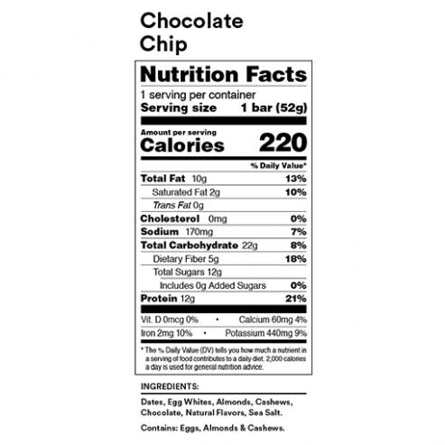 RX Bar Nutrition Facts Chocolate Chip