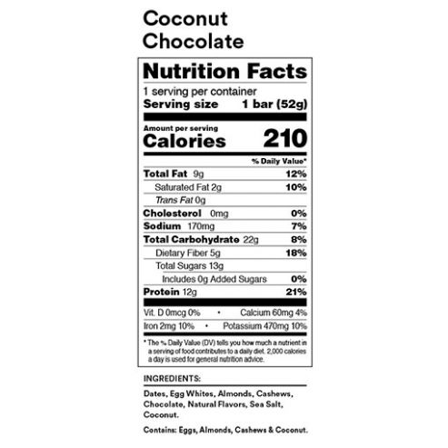 RX Bar Nutrition Facts Coconut Chocolate