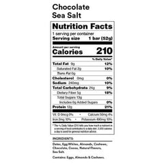 RX Bar Nutrition Facts Chocolate Sea Salt