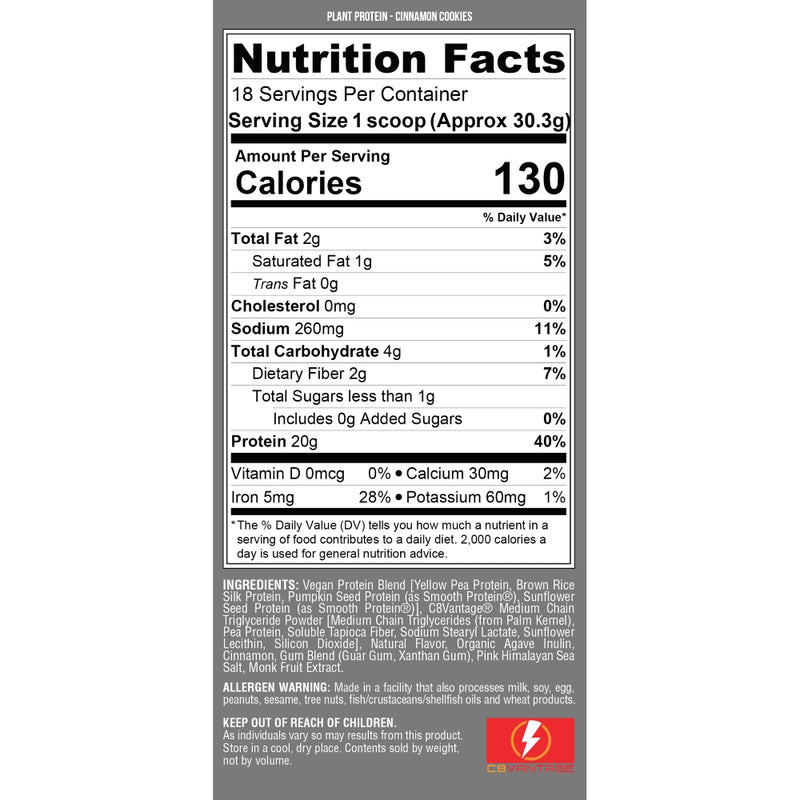 Nutrex Research Plant Protein Cinnamon Cookies Nutrition Facts