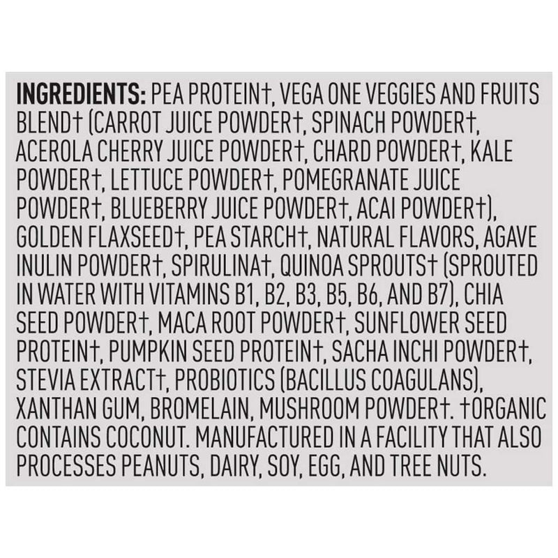 Vega One Shake Small Coconut Almond Ingredients