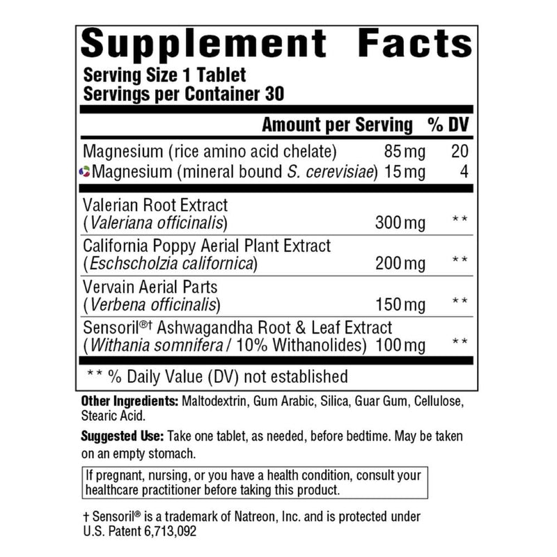 MegaFood Dream Release Supplement Facts