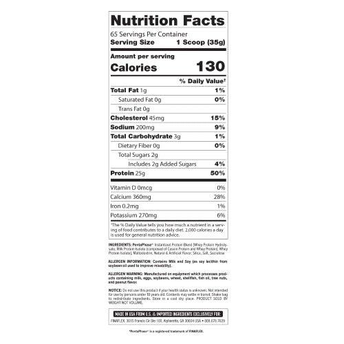 FinaFlex Clear Protein 5lb Nutrition Facts
