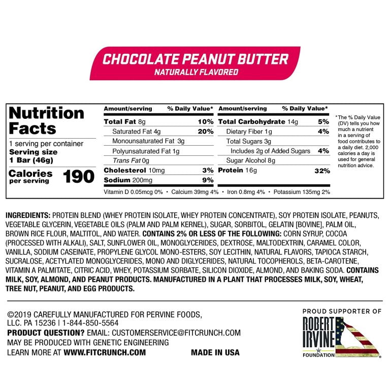 Robert Irvine Fit Crunch Snack Bars Box of 9 Chocolate Peanut Butter Nutrition Facts