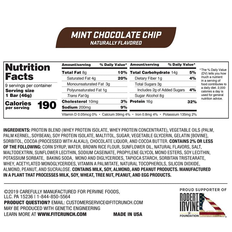 Robert Irvine Fit Crunch Snack Bars Box of 9 Mint Chocolate Chip Nutrition Facts