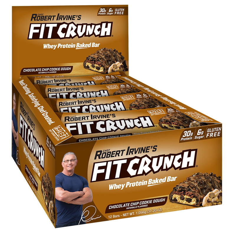 Robert Irvine Fit Crunch Bars (Full Size) Box of 12 Chocolate Chip Cookie Dough