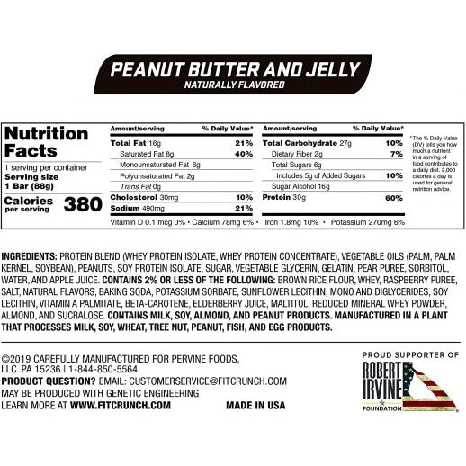 Robert Irvine Fit Crunch Bars (Full Size) Box of 12 Peanut Butter & Jelly Nutrition Facts