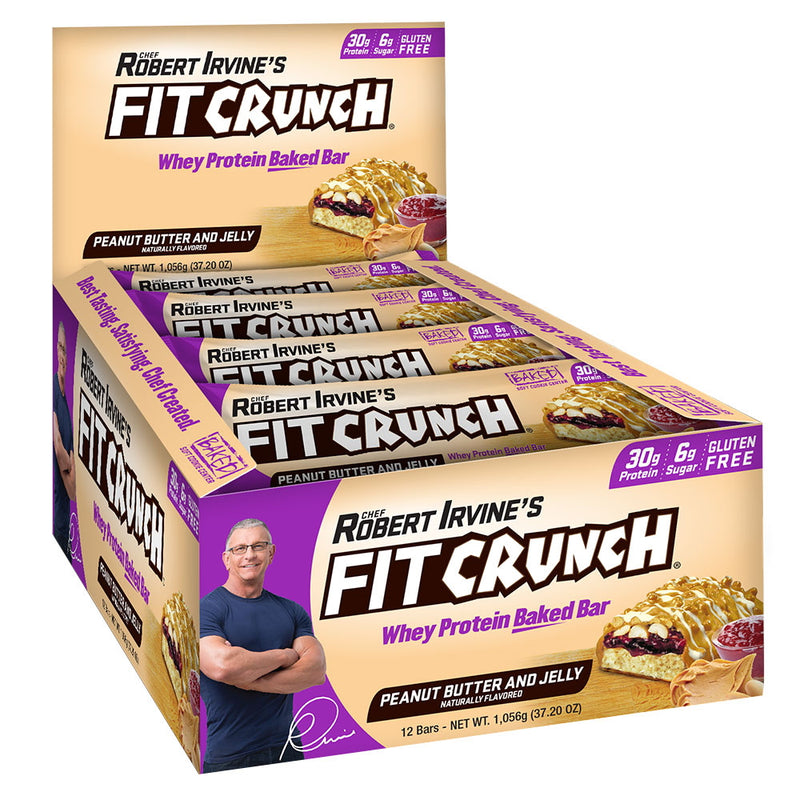 Robert Irvine Fit Crunch Bars (Full Size) Box of 12 Peanut Butter & Jelly