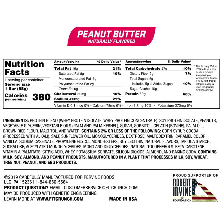 Robert Irvine Fit Crunch Bars (Full Size) Box of 12 Peanut Butter Nutrition Facts