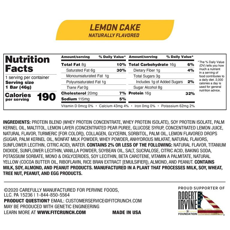 Robert Irvine Fit Crunch Snack Bars Box of 9 Lemon Cake Nutrition Facts