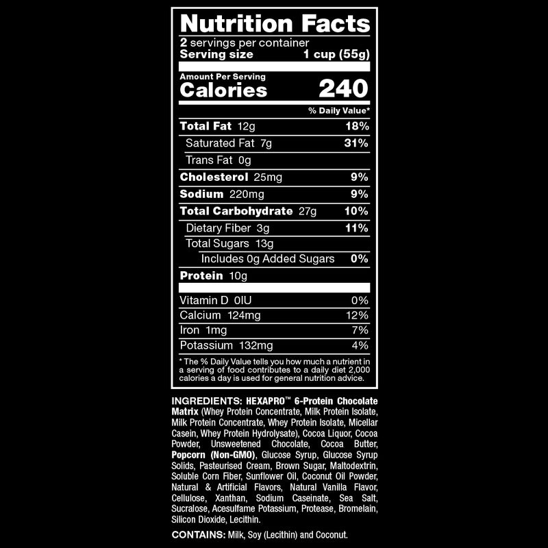 Allmax Nutrition HexaPro Protein Popcorn Dark Chocolate Sea Salt Nutrition Facts