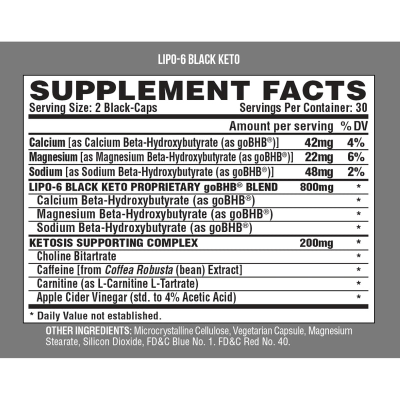 Nutrex Lipo 6 Black Keto Supplement Facts