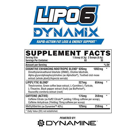 Nutrex Lipo 6 Dynamix Supplement Facts