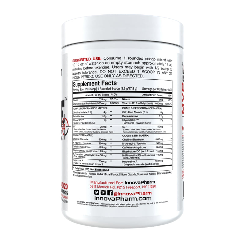 InnovaPharm MVPre 2.0 Pre Workout supplement facts