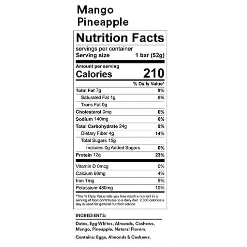 RX Bar Nutrition Facts Mango Pineapple