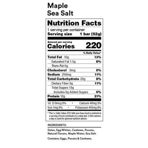 RX Bar Nutrition Facts Maple Sea Salt