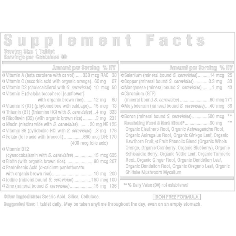 MegaFood Men Over 40 One Daily Supplement Facts