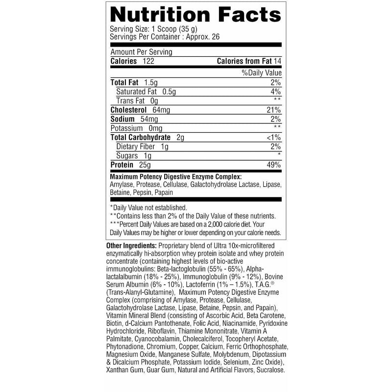 Metabolic Nutrition Protizyme 2lb Strawberry Creme Nutrition Facts