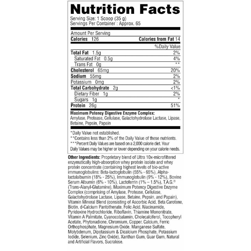 Metabolic Nutrition Protizyme 5lb Banana Creme Nutrition Facts