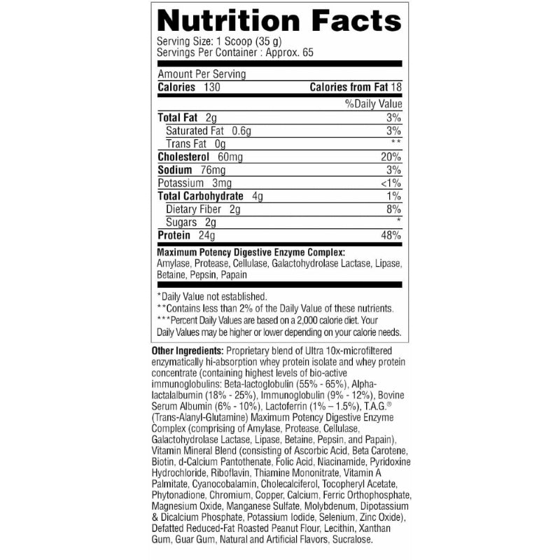Metabolic Nutrition Protizyme 5lb Butter Pecan Cookie Nutrition Facts