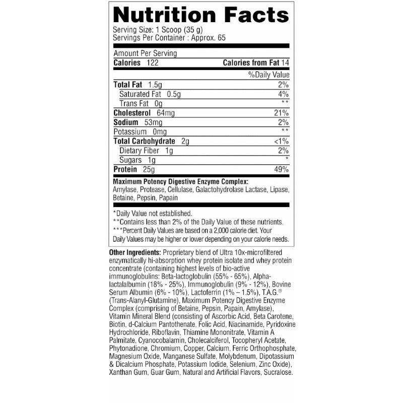 Metabolic Nutrition Protizyme 5lb Vanilla Cake Nutrition Facts