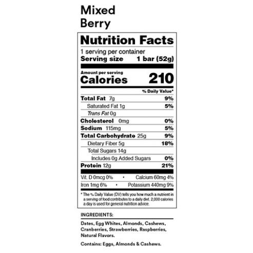 RX Bar Nutrition Facts Mixed Berry