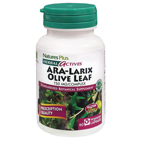 Nature's Plus Herbal Actives ARA-Larix/Olive Leaf 750mg Complex 60VC