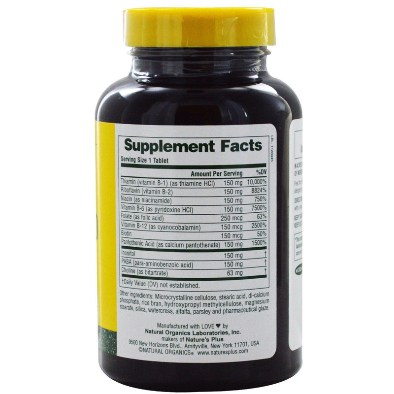 Nature's Plus Mega B-150 60 Tablets Supplement Facts