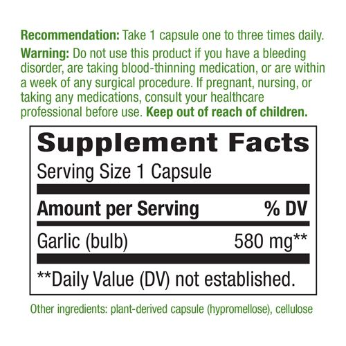 Nature's Way Garlic 100vc Supplement Facts